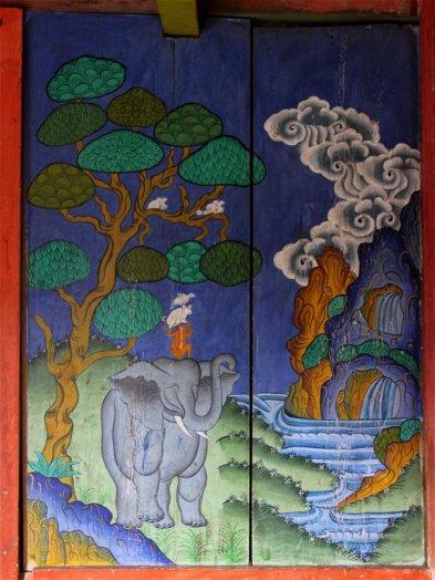 Détail des fresques sur bois