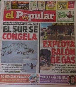 le froid en Une des journaux à Puno