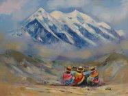 Jolie peinture de l'Illimani