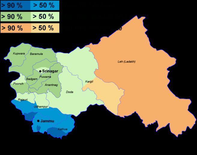 Carte de répartition religieuse au Cachemire
