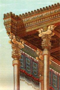 Détail d'une reconstitution de l'Apadana à Persépolis, mêlant colonnes en pierre et toiture en boiserie. Charles Chipiez, 1890