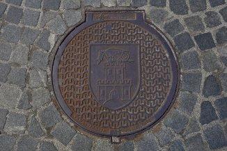 Plaque d'égout avec le dragon, symbole de Ljubljana