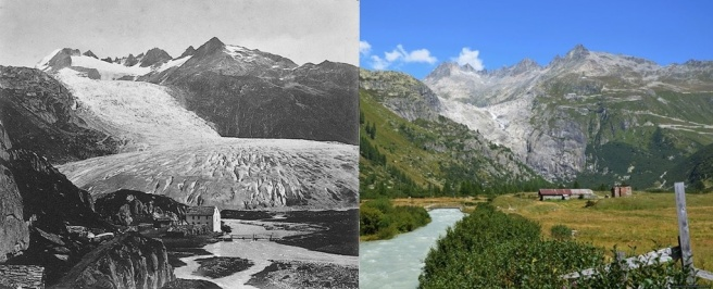 Région de Gletsch en Haut-Valais en 1856 et actuellement avec le recul du glacier du Rhône, un effet du changement climatique global (image à gauche : old.furka-bergstrecke.ch; à droite : kurt.fotosuisse) - Source : meteosuisse.admin.ch