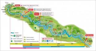 Plan général des descentes de l'Ardèche