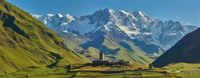 Hameau de Lamaria, Ushguli, au pied des glaciers du Shkara