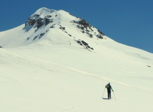 En vue du sommet du Roc Blanc