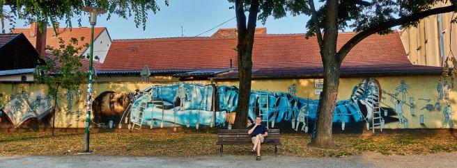 Gulliver et les Lilliputiens, peinture urbaine, Zagreb